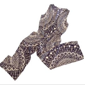 Glam Blue & White Geometric Print Jumpsuit Size S